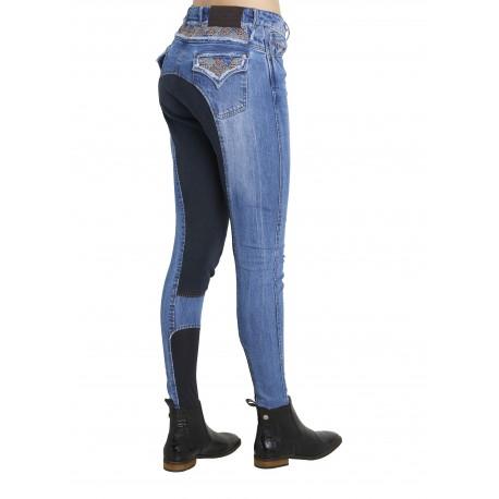 Pantalon Enfant Montar - DENIM - Broderie marron - Fond de peau - 12 ans