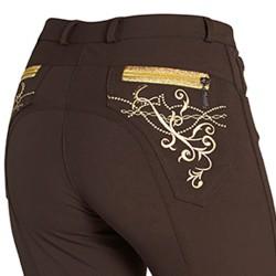 Pantalon Femme Montar - Broderie et pierres swarovski - Empiècement genoux en silicone - Marron