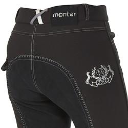 Pantalon Enfant Montar - Softshell Broderie et pierres Swarovski - Fond de peau - Noir