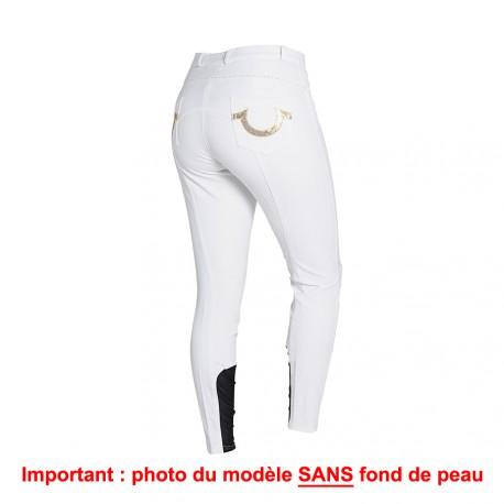 Pantalon Femme Montar - Fer à cheval en paillettes - Empiècements genous silicone Blanc Taille 42